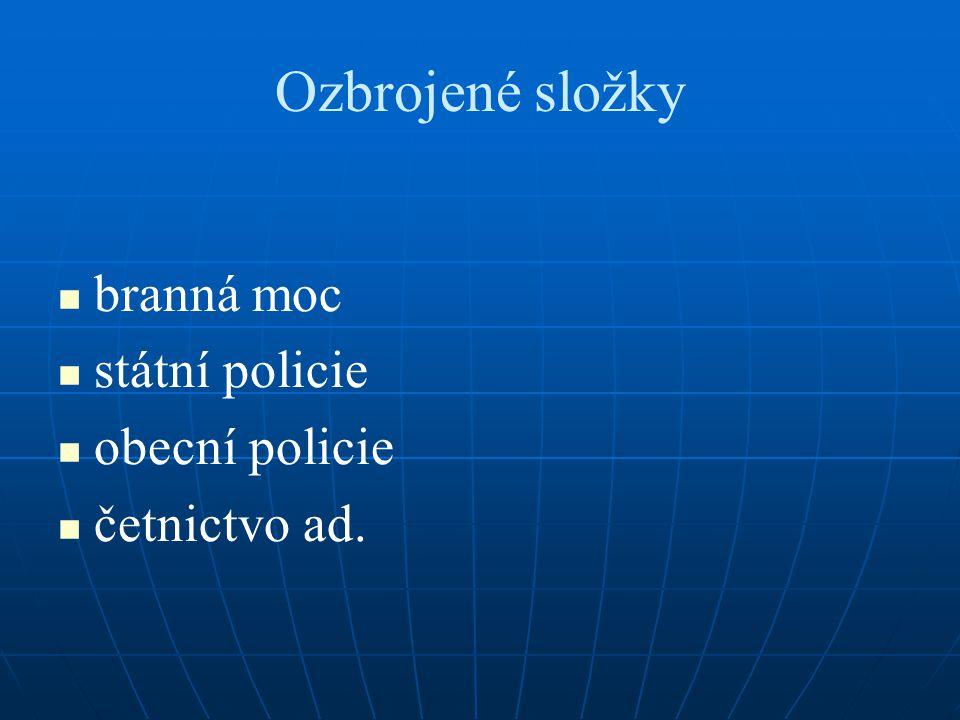 Ozbrojené složky branná moc státní policie obecní policie četnictvo ad.