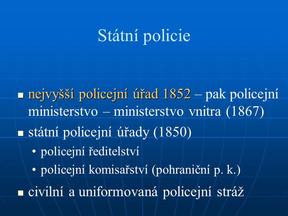 Státní policie nejvyšší policejní úřad 1852 nejvyšší policejní úřad 1852 – pak policejní ministerstvo – ministerstvo vnitra (1867) státní policejní úřady (1850) policejní ředitelství policejní komisařství (pohraniční p.