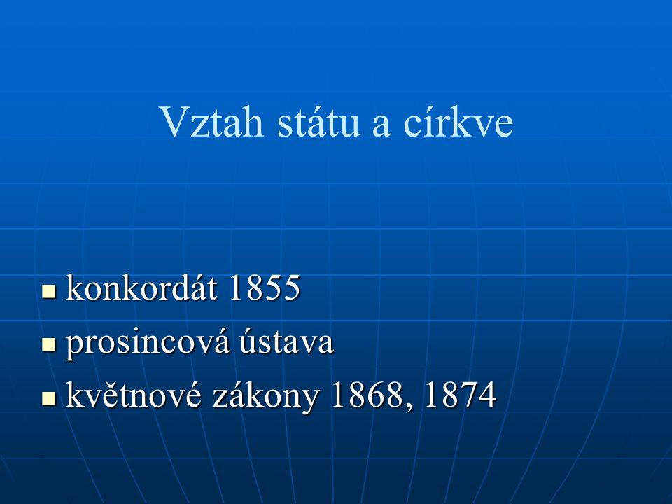 Vztah státu a církve konkordát 1855 konkordát 1855 prosincová ústava prosincová ústava květnové zákony 1868, 1874 květnové zákony 1868, 1874