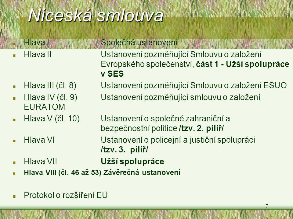 7 Niceská smlouva n Hlava I Společná ustanovení n Hlava II Ustanovení pozměňující Smlouvu o založení Evropského společenství, část 1 - Užší spolupráce