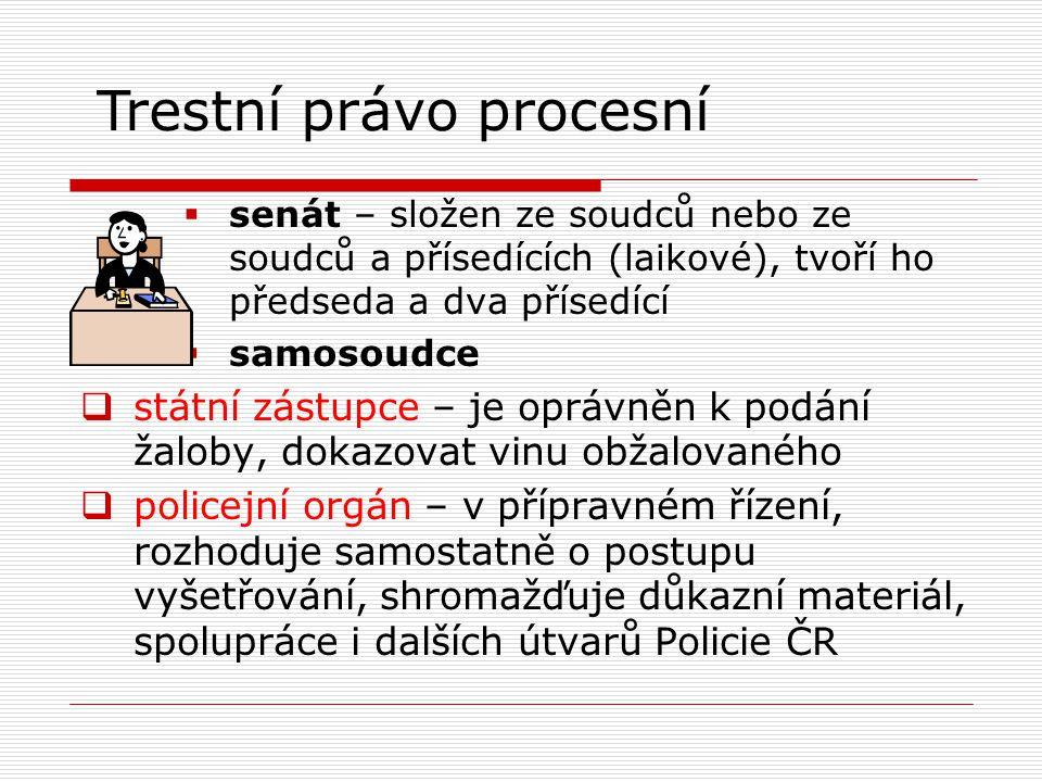  senát – složen ze soudců nebo ze soudců a přísedících (laikové), tvoří ho předseda a dva přísedící  samosoudce  státní zástupce – je oprávněn k podání žaloby, dokazovat vinu obžalovaného  policejní orgán – v přípravném řízení, rozhoduje samostatně o postupu vyšetřování, shromažďuje důkazní materiál, spolupráce i dalších útvarů Policie ČR Trestní právo procesní