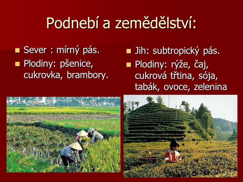 Podnebí a zemědělství: Sever : mírný pás. Sever : mírný pás. Plodiny: pšenice, cukrovka, brambory. Plodiny: pšenice, cukrovka, brambory. Jih: subtropi