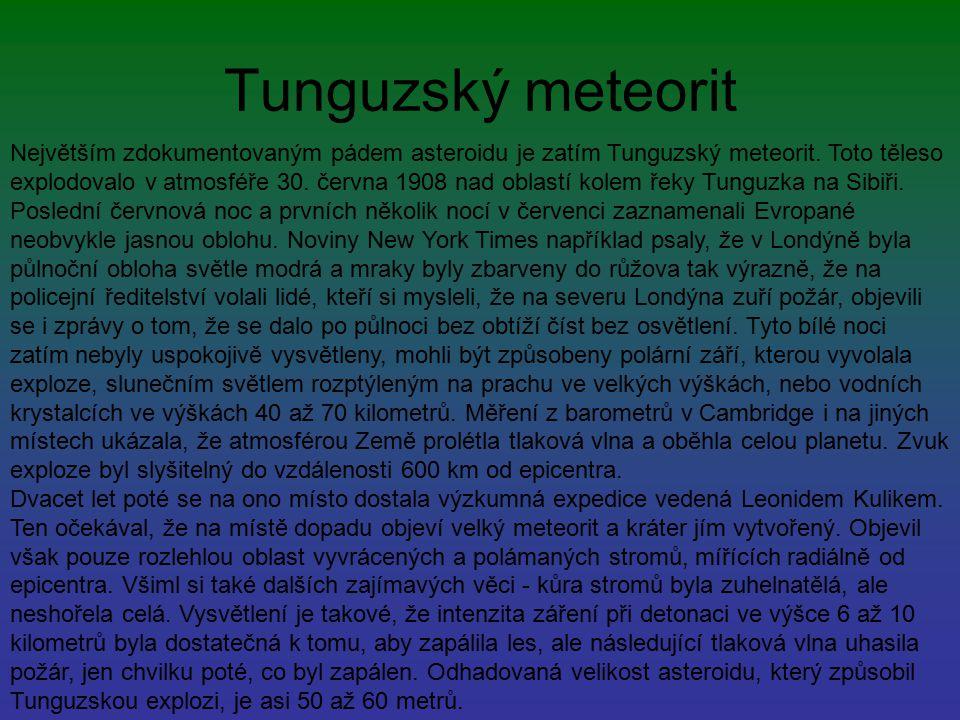 Tunguzský meteorit Největším zdokumentovaným pádem asteroidu je zatím Tunguzský meteorit. Toto těleso explodovalo v atmosféře 30. června 1908 nad obla