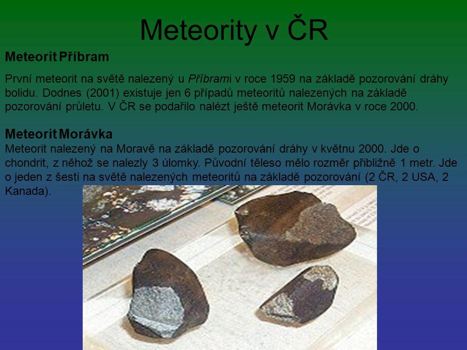 Meteority v ČR Meteorit Příbram První meteorit na světě nalezený u Příbrami v roce 1959 na základě pozorování dráhy bolidu. Dodnes (2001) existuje jen