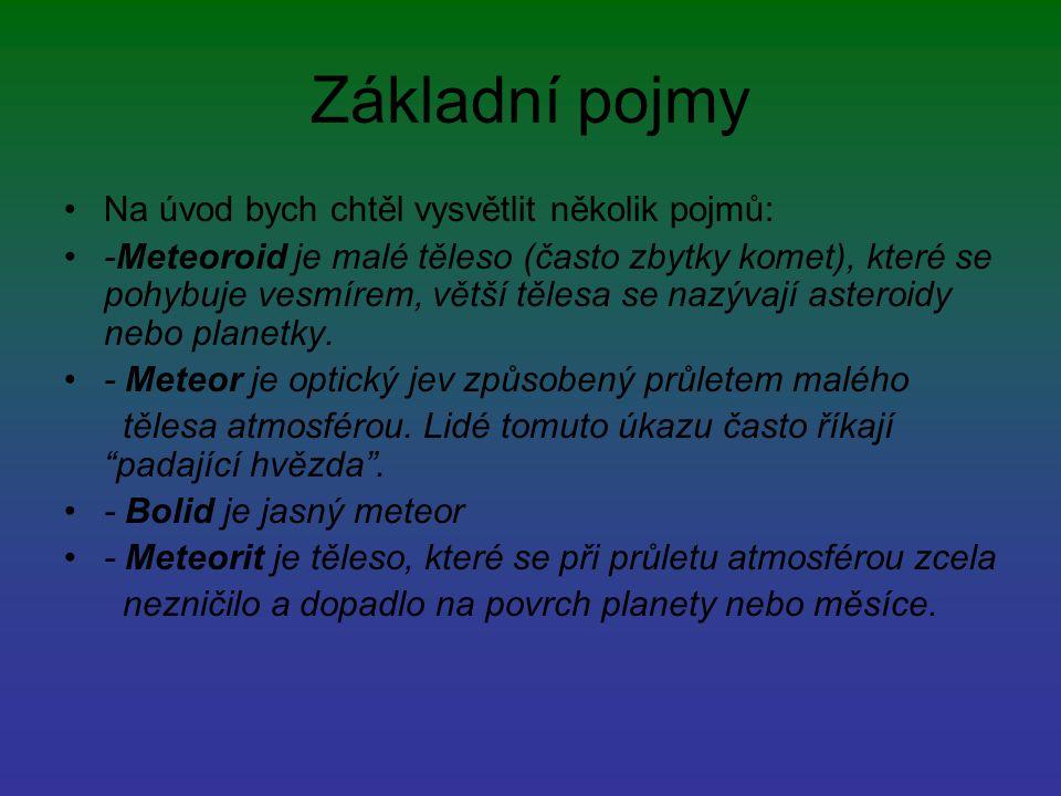 Základní pojmy Na úvod bych chtěl vysvětlit několik pojmů: -Meteoroid je malé těleso (často zbytky komet), které se pohybuje vesmírem, větší tělesa se