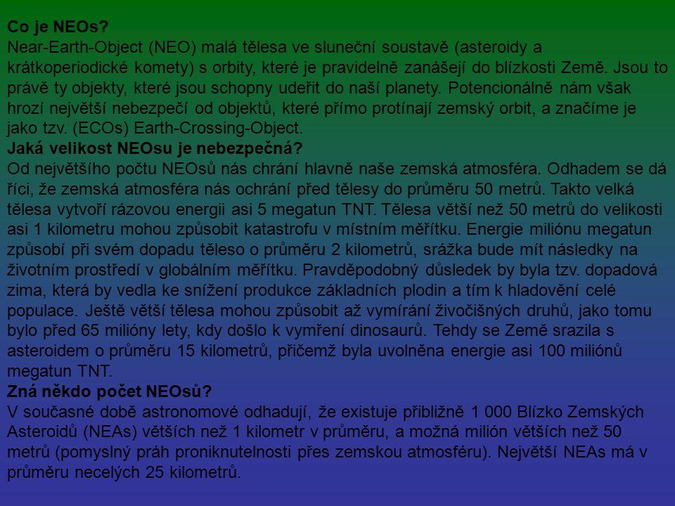 Co je NEOs? Near-Earth-Object (NEO) malá tělesa ve sluneční soustavě (asteroidy a krátkoperiodické komety) s orbity, které je pravidelně zanášejí do b