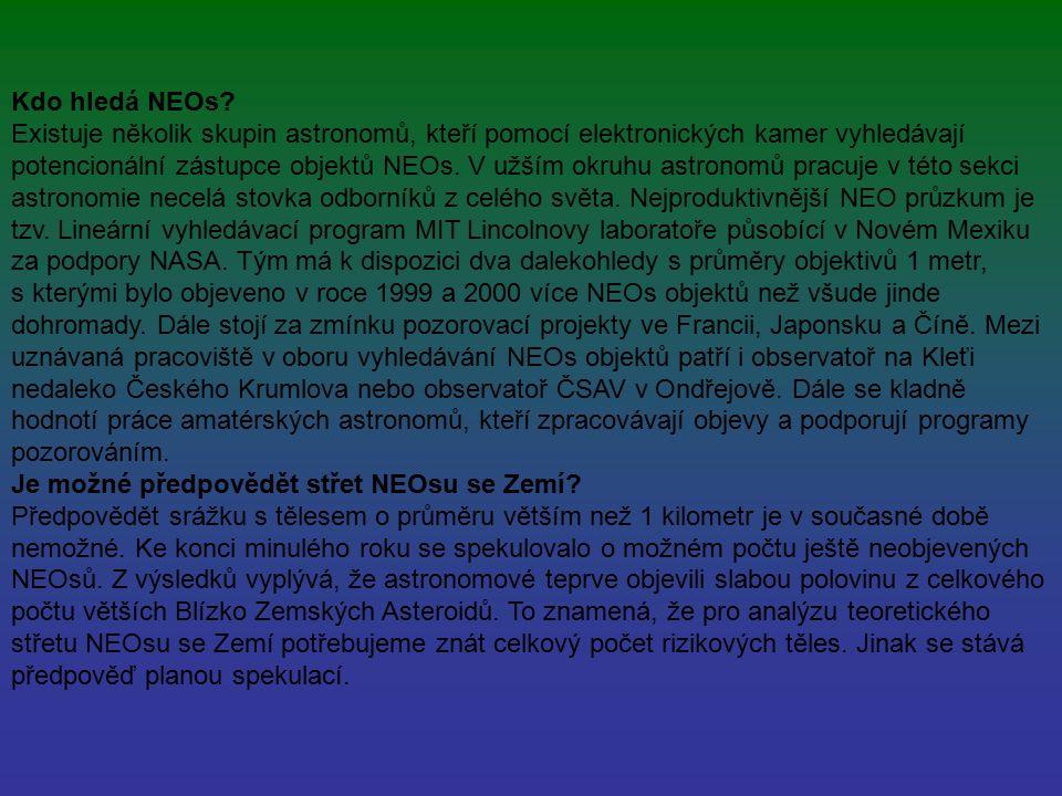 Kdo hledá NEOs? Existuje několik skupin astronomů, kteří pomocí elektronických kamer vyhledávají potencionální zástupce objektů NEOs. V užším okruhu a