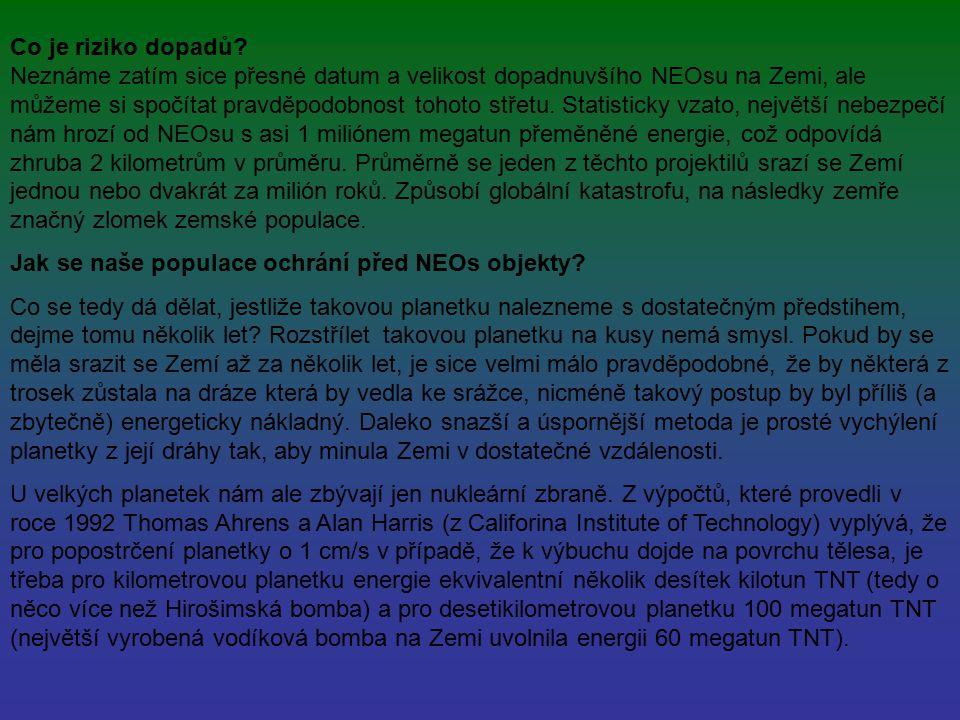 Co je riziko dopadů? Neznáme zatím sice přesné datum a velikost dopadnuvšího NEOsu na Zemi, ale můžeme si spočítat pravděpodobnost tohoto střetu. Stat