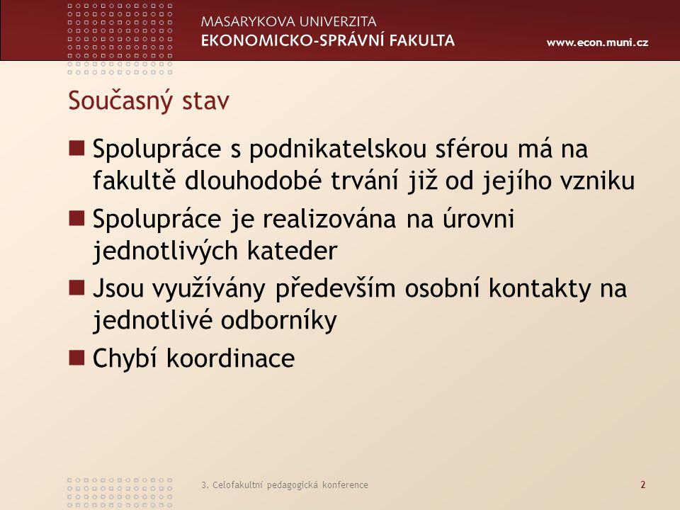 www.econ.muni.cz 3. Celofakultní pedagogická konference2 Současný stav Spolupráce s podnikatelskou sférou má na fakultě dlouhodobé trvání již od jejíh
