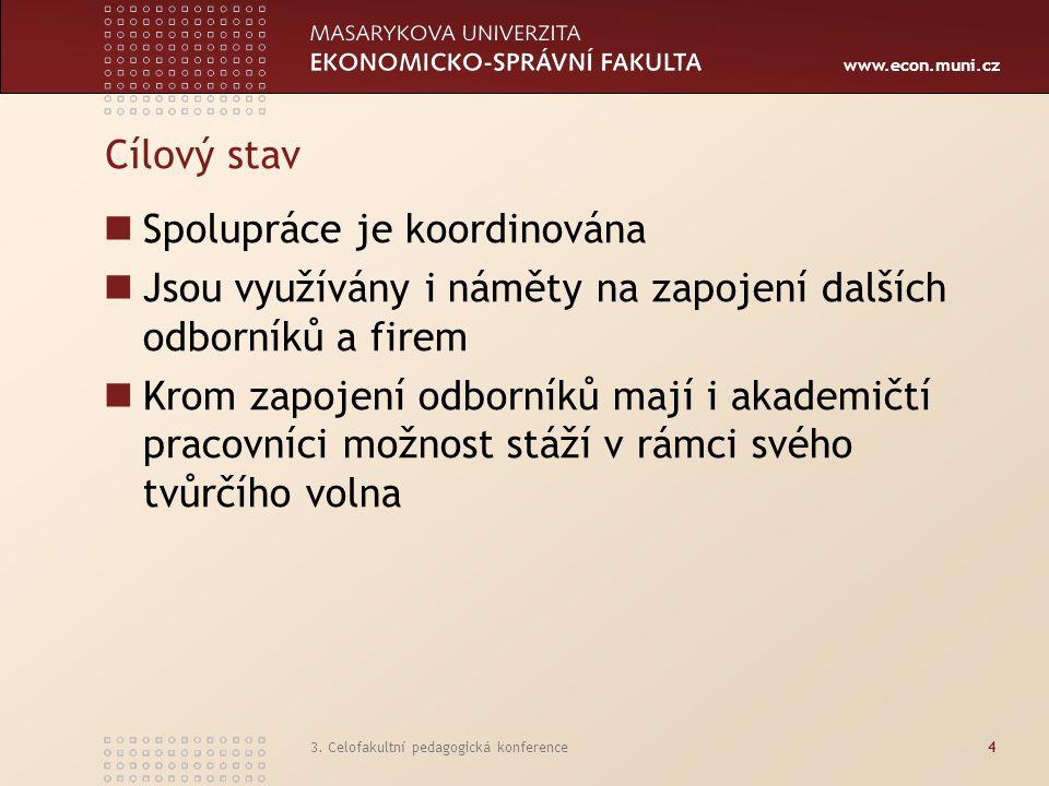 www.econ.muni.cz 3. Celofakultní pedagogická konference4 Cílový stav Spolupráce je koordinována Jsou využívány i náměty na zapojení dalších odborníků
