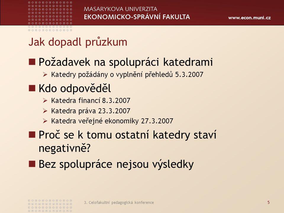 www.econ.muni.cz 3. Celofakultní pedagogická konference5 Jak dopadl průzkum Požadavek na spolupráci katedrami  Katedry požádány o vyplnění přehledů 5