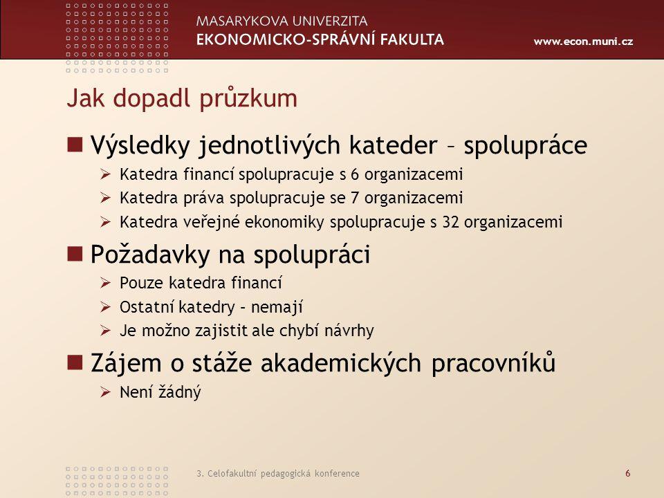 www.econ.muni.cz 3. Celofakultní pedagogická konference6 Jak dopadl průzkum Výsledky jednotlivých kateder – spolupráce  Katedra financí spolupracuje