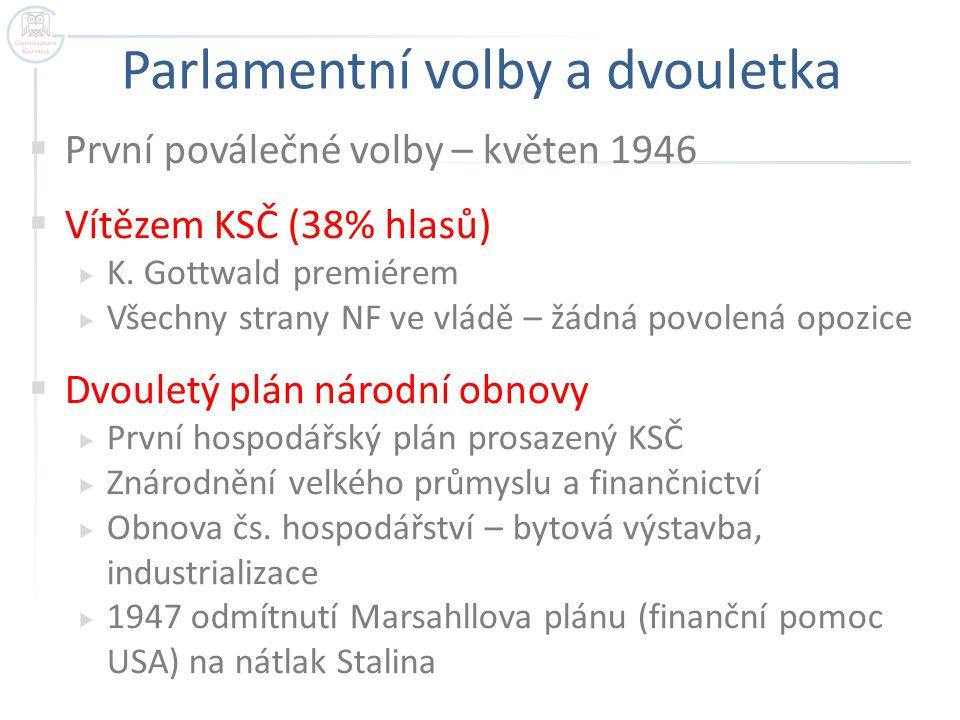 Parlamentní volby a dvouletka  První poválečné volby – květen 1946  Vítězem KSČ (38% hlasů)  K. Gottwald premiérem  Všechny strany NF ve vládě – ž
