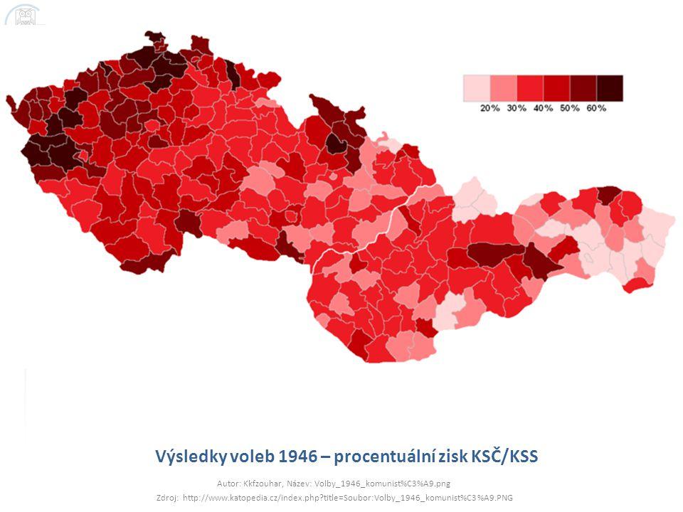 Výsledky voleb 1946 – procentuální zisk KSČ/KSS Autor: Kkfzouhar, Název: Volby_1946_komunist%C3%A9.png Zdroj: http://www.katopedia.cz/index.php?title=