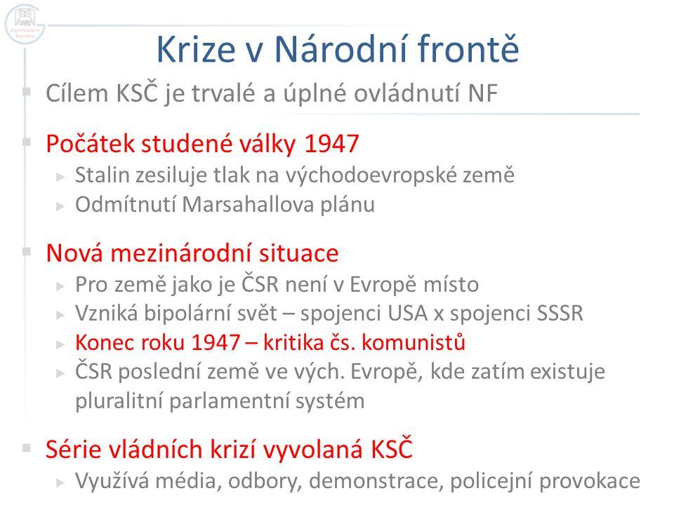 Krize v Národní frontě  Cílem KSČ je trvalé a úplné ovládnutí NF  Počátek studené války 1947  Stalin zesiluje tlak na východoevropské země  Odmítn