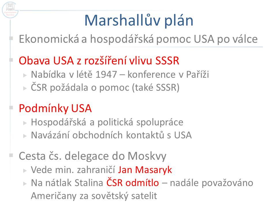 Marshallův plán  Ekonomická a hospodářská pomoc USA po válce  Obava USA z rozšíření vlivu SSSR  Nabídka v létě 1947 – konference v Paříži  ČSR pož