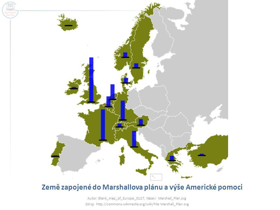 Země zapojené do Marshallova plánu a výše Americké pomoci Autor: Blank_map_of_Europe_EU27, Název: Marshall_Plan.svg Zdroj: http://commons.wikimedia.or