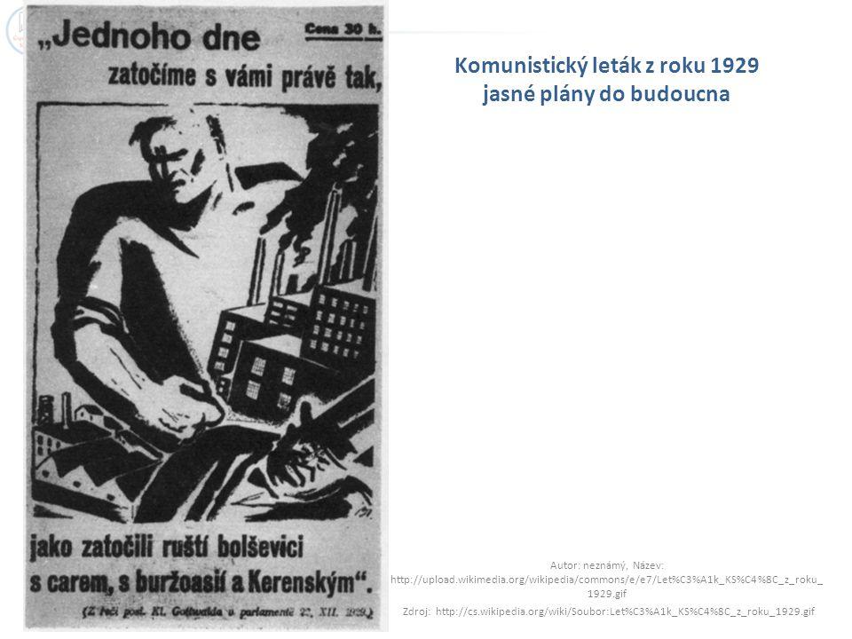 Komunistický leták z roku 1929 jasné plány do budoucna Autor: neznámý, Název: http://upload.wikimedia.org/wikipedia/commons/e/e7/Let%C3%A1k_KS%C4%8C_z