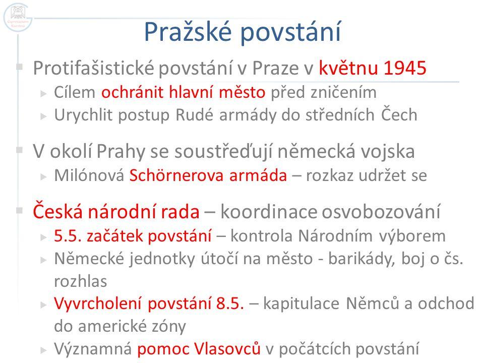 Pražské povstání  Protifašistické povstání v Praze v květnu 1945  Cílem ochránit hlavní město před zničením  Urychlit postup Rudé armády do střední