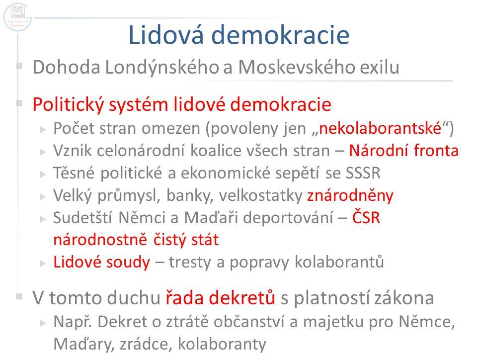 """Lidová demokracie  Dohoda Londýnského a Moskevského exilu  Politický systém lidové demokracie  Počet stran omezen (povoleny jen """"nekolaborantské"""")"""
