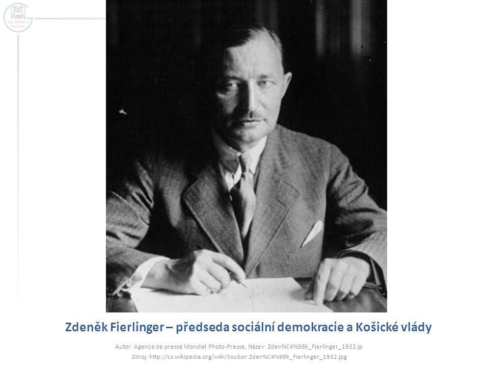 Zdeněk Fierlinger – předseda sociální demokracie a Košické vlády Autor: Agence de presse Mondial Photo-Presse, Název: Zden%C4%9Bk_Fierlinger_1932.jp Z