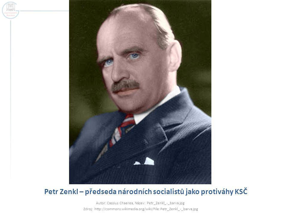 Petr Zenkl – předseda národních socialistů jako protiváhy KSČ Autor: Cassius Chaerea, Název: Petr_Zenkl_-_barva.jpg Zdroj: http://commons.wikimedia.or