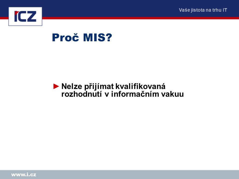 Vaše jistota na trhu IT www.i.cz Proč MIS.