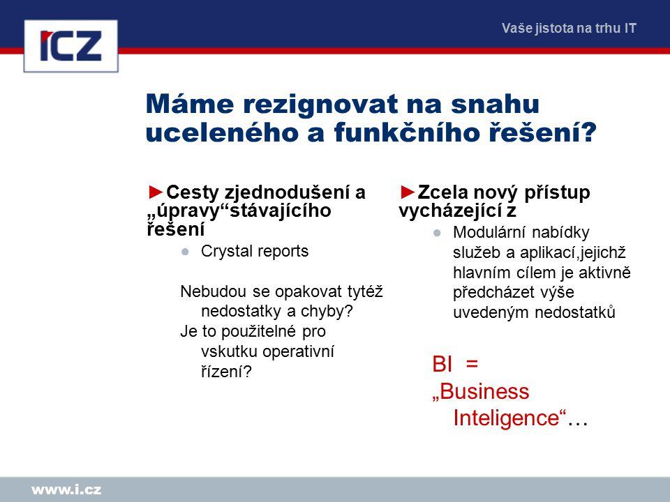 Vaše jistota na trhu IT www.i.cz Máme rezignovat na snahu uceleného a funkčního řešení.