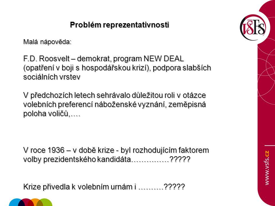 Problém reprezentativnosti Problém reprezentativnosti Malá nápověda: F.D. Roosvelt – demokrat, program NEW DEAL (opatření v boji s hospodářskou krizí)