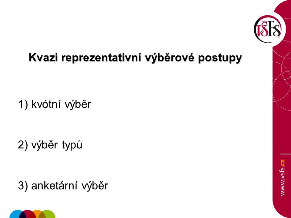 Kvazi reprezentativní výběrové postupy 1) kvótní výběr 2) výběr typů 3) anketární výběr