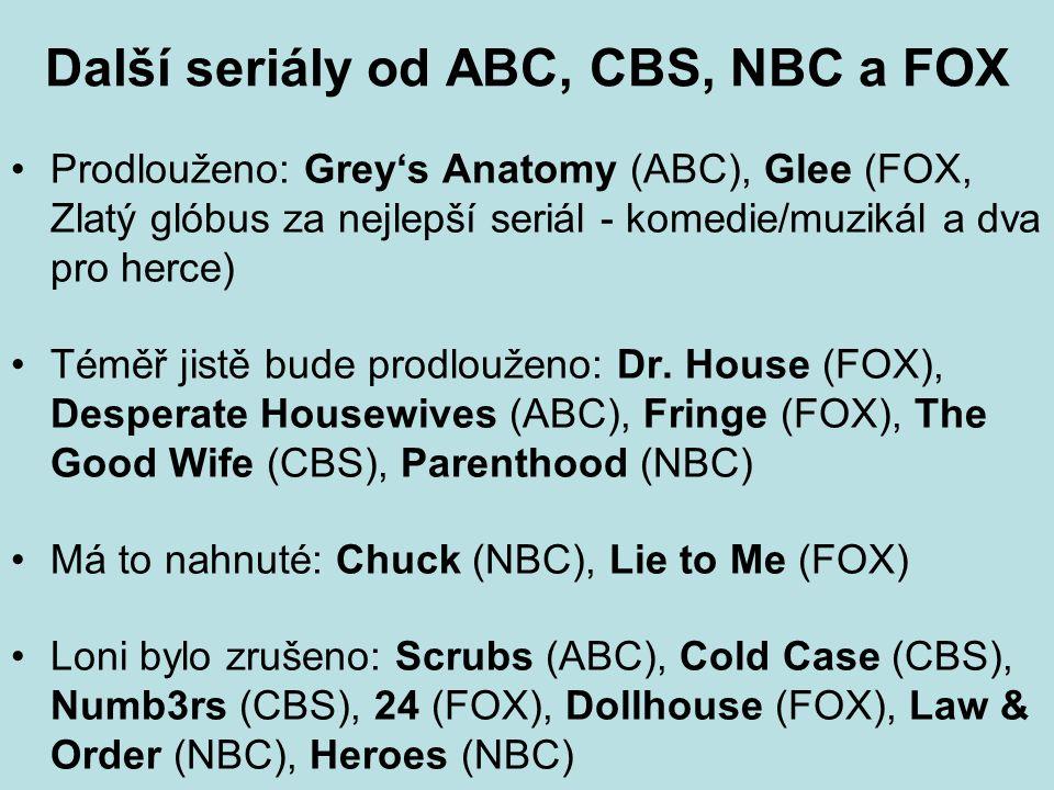 Další seriály od ABC, CBS, NBC a FOX Prodlouženo: Grey's Anatomy (ABC), Glee (FOX, Zlatý glóbus za nejlepší seriál - komedie/muzikál a dva pro herce) Téměř jistě bude prodlouženo: Dr.