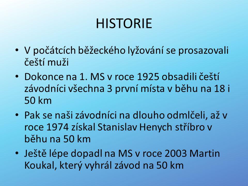 HISTORIE V počátcích běžeckého lyžování se prosazovali čeští muži Dokonce na 1. MS v roce 1925 obsadili čeští závodníci všechna 3 první místa v běhu n