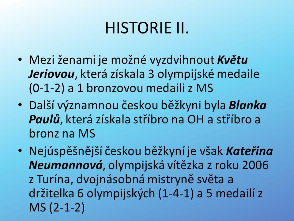 HISTORIE II. Mezi ženami je možné vyzdvihnout Květu Jeriovou, která získala 3 olympijské medaile (0-1-2) a 1 bronzovou medaili z MS Další významnou če