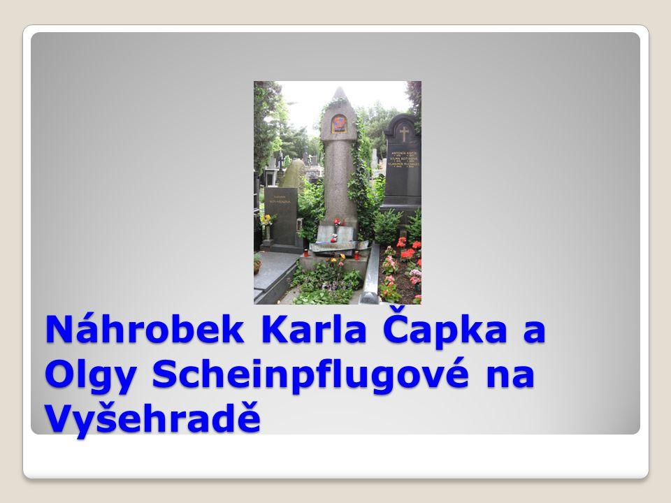 Náhrobek Karla Čapka a Olgy Scheinpflugové na Vyšehradě