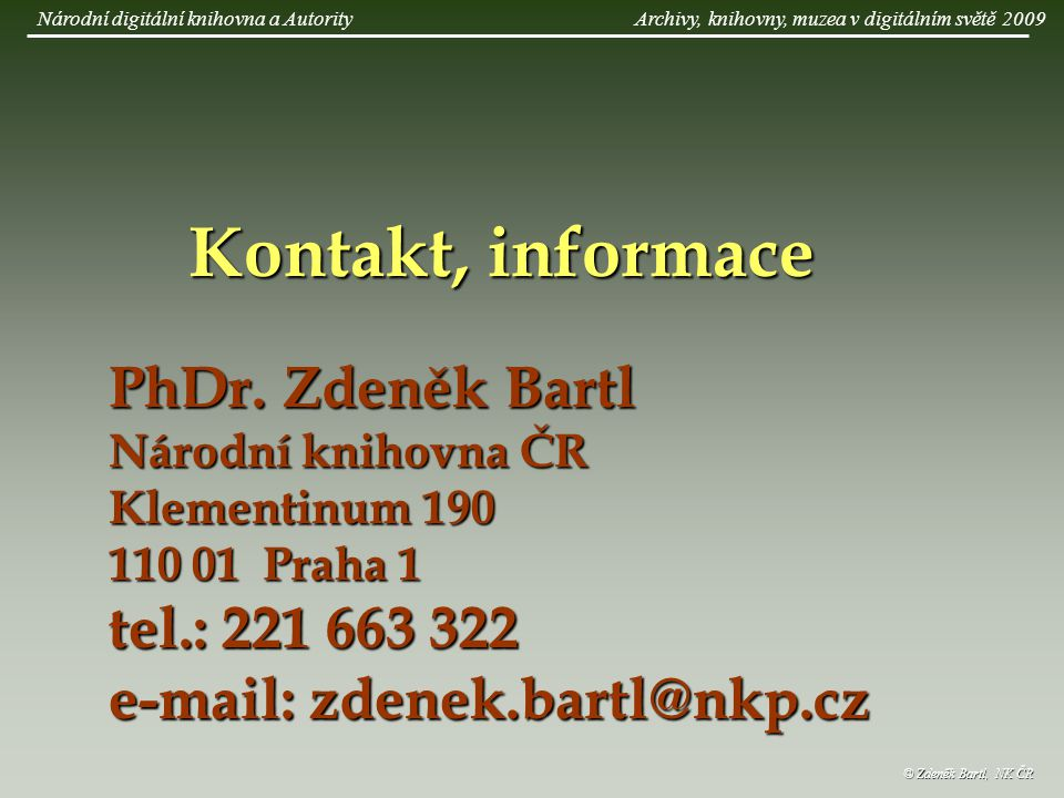 Kontakt, informace PhDr.