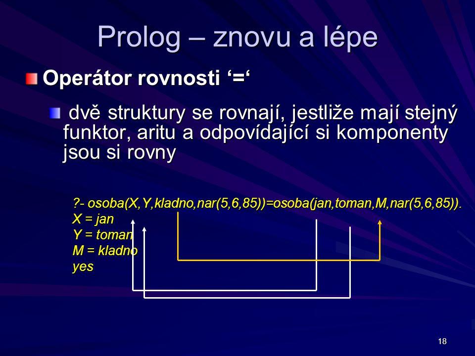 18 Prolog – znovu a lépe Operátor rovnosti '=' dvě struktury se rovnají, jestliže mají stejný funktor, aritu a odpovídající si komponenty jsou si rovny dvě struktury se rovnají, jestliže mají stejný funktor, aritu a odpovídající si komponenty jsou si rovny - osoba(X,Y,kladno,nar(5,6,85))=osoba(jan,toman,M,nar(5,6,85)).