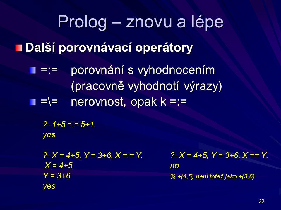 22 Prolog – znovu a lépe Další porovnávací operátory =:= porovnání s vyhodnocením =:= porovnání s vyhodnocením (pracovně vyhodnotí výrazy) =\= nerovnost, opak k =:= =\= nerovnost, opak k =:= - 1+5 =:= 5+1.