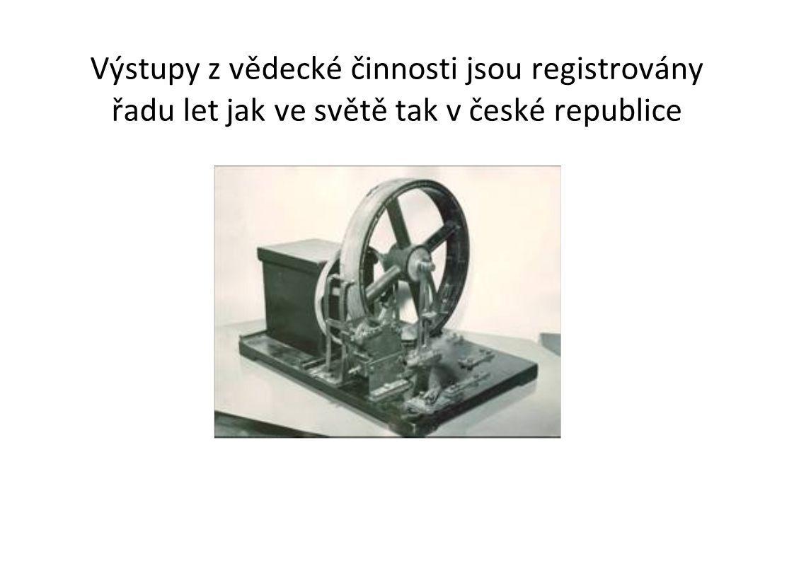 Výstupy z vědecké činnosti jsou registrovány řadu let jak ve světě tak v české republice