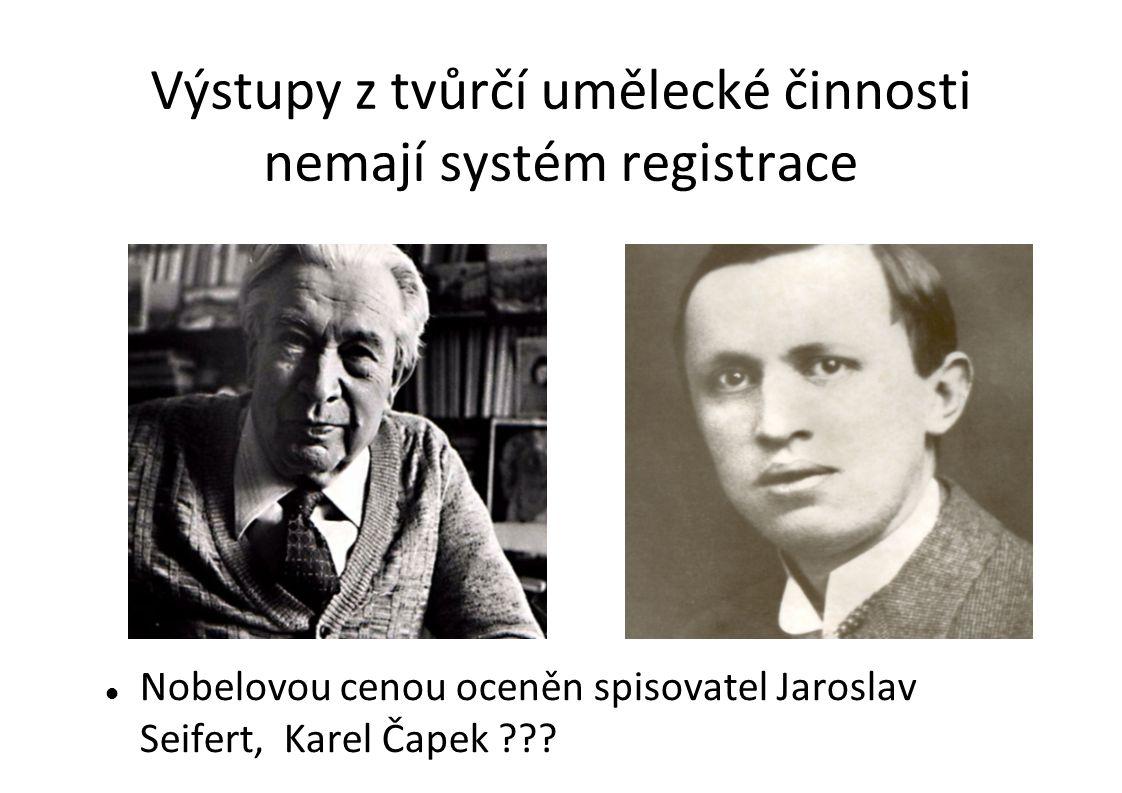 Výstupy z tvůrčí umělecké činnosti nemají systém registrace Nobelovou cenou oceněn spisovatel Jaroslav Seifert, Karel Čapek