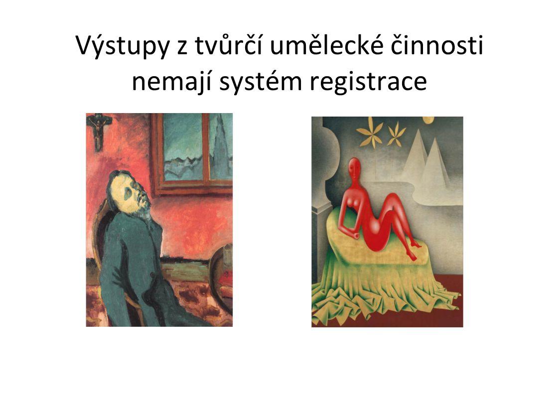 Výstupy z tvůrčí umělecké činnosti nemají systém registrace