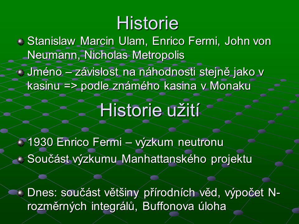 Historie užití 1930 Enrico Fermi – výzkum neutronu Součást výzkumu Manhattanského projektu Dnes: součást většiny přírodních věd, výpočet N- rozměrných