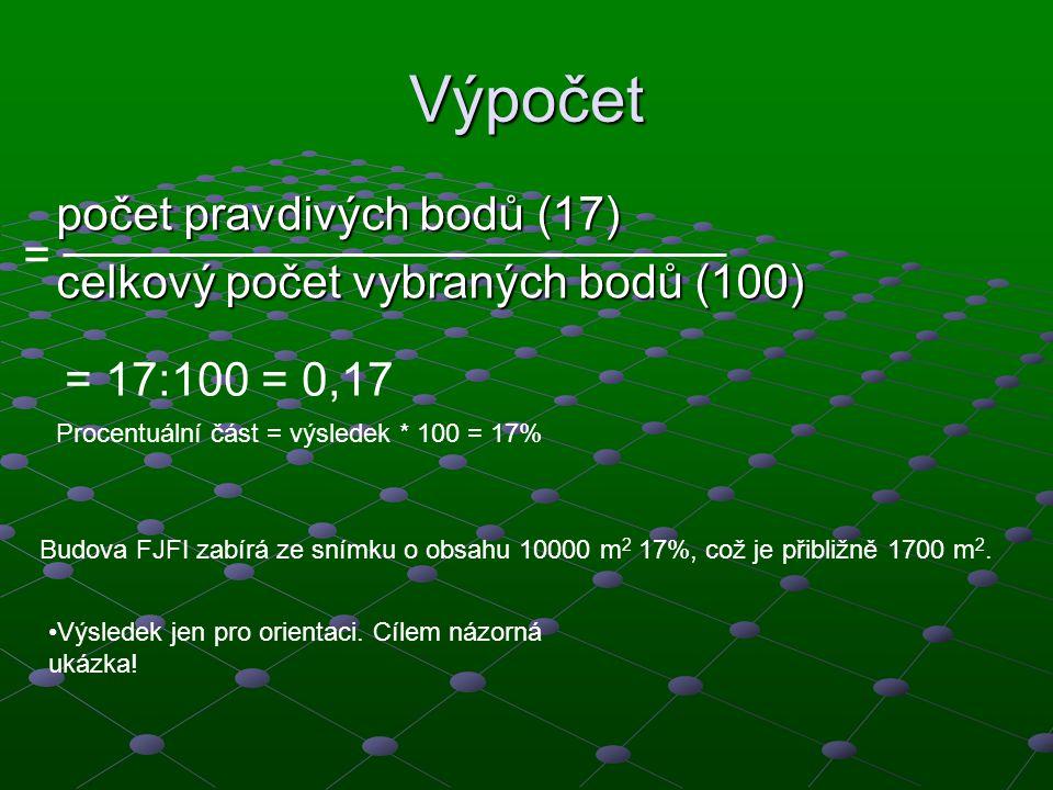 Výpočet počet pravdivých bodů (17) celkový počet vybraných bodů (100) = 17:100 = 0,17 Procentuální část = výsledek * 100 = 17% Budova FJFI zabírá ze s
