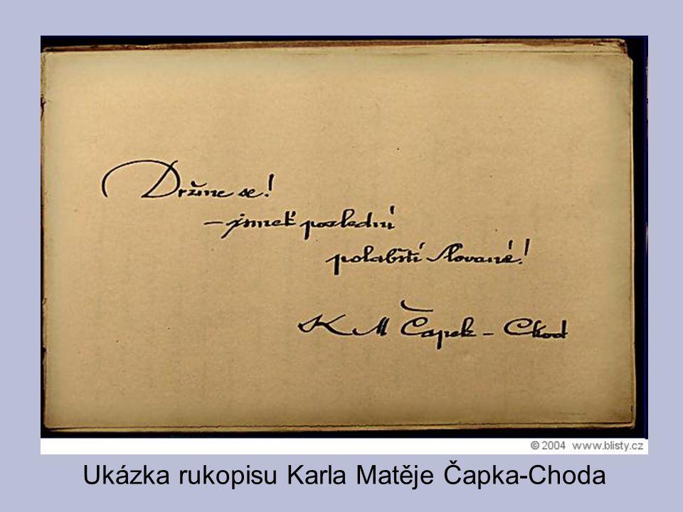 Ukázka rukopisu Karla Matěje Čapka-Choda