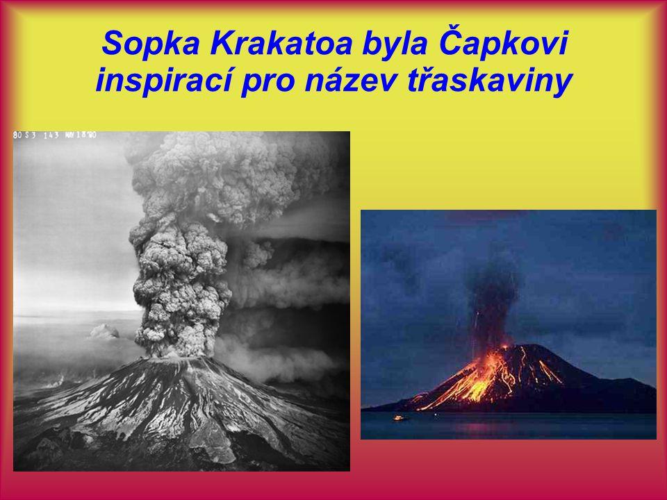 Sopka Krakatoa byla Čapkovi inspirací pro název třaskaviny