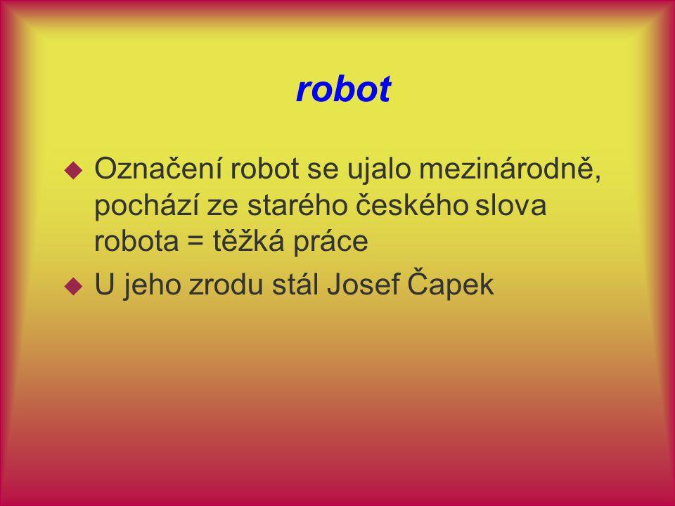 robot  Označení robot se ujalo mezinárodně, pochází ze starého českého slova robota = těžká práce  U jeho zrodu stál Josef Čapek