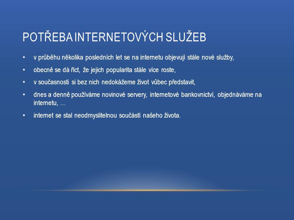 DOSTUPNÉ SLUŽBY NA INTERNETU K nejpoužívanějším službám na internetu patří: vyhledávače, elektronické obchody – eshopy, internetové bankovnictví, novinové portály, komunikace.