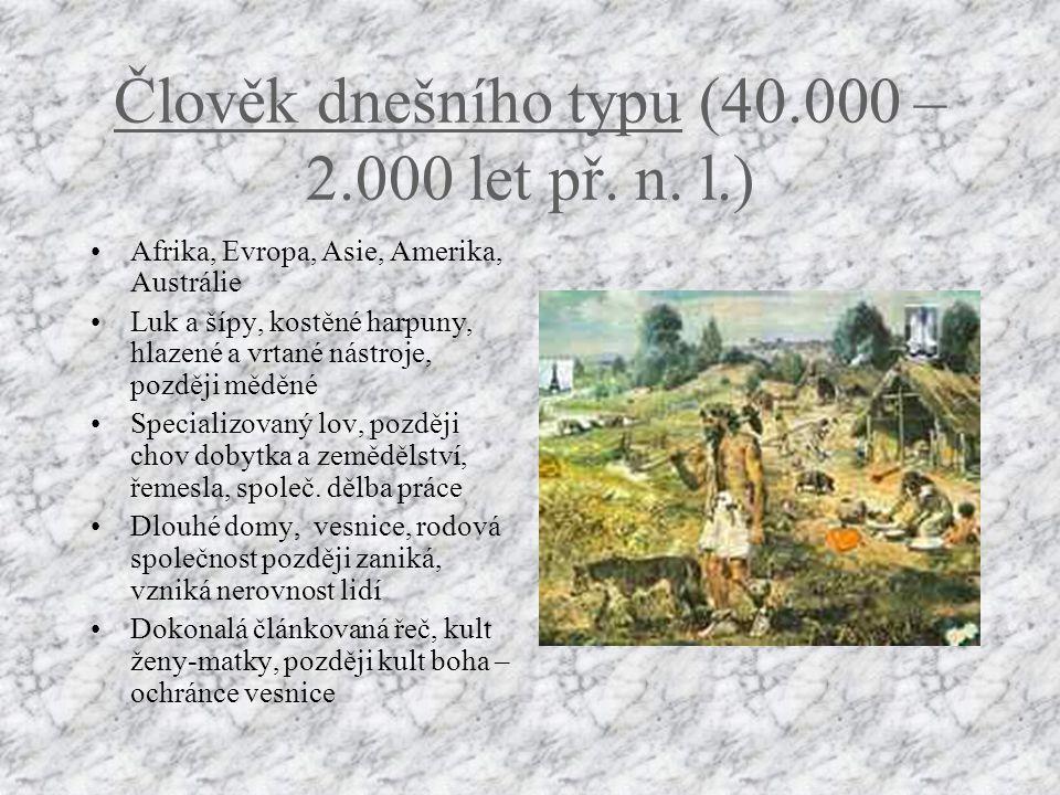 Člověk rozumný (200.000 – 40.000 let př.n.l.) Žil Africe, Evropě a Asii Používal nože, škrabadla, oštěpy s kamennými hroty Živil se sběrem a specializ