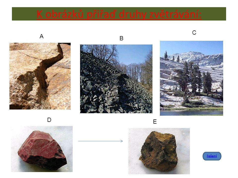 K obrázků přiřaď druhy zvětrávání: A B C D E řešení
