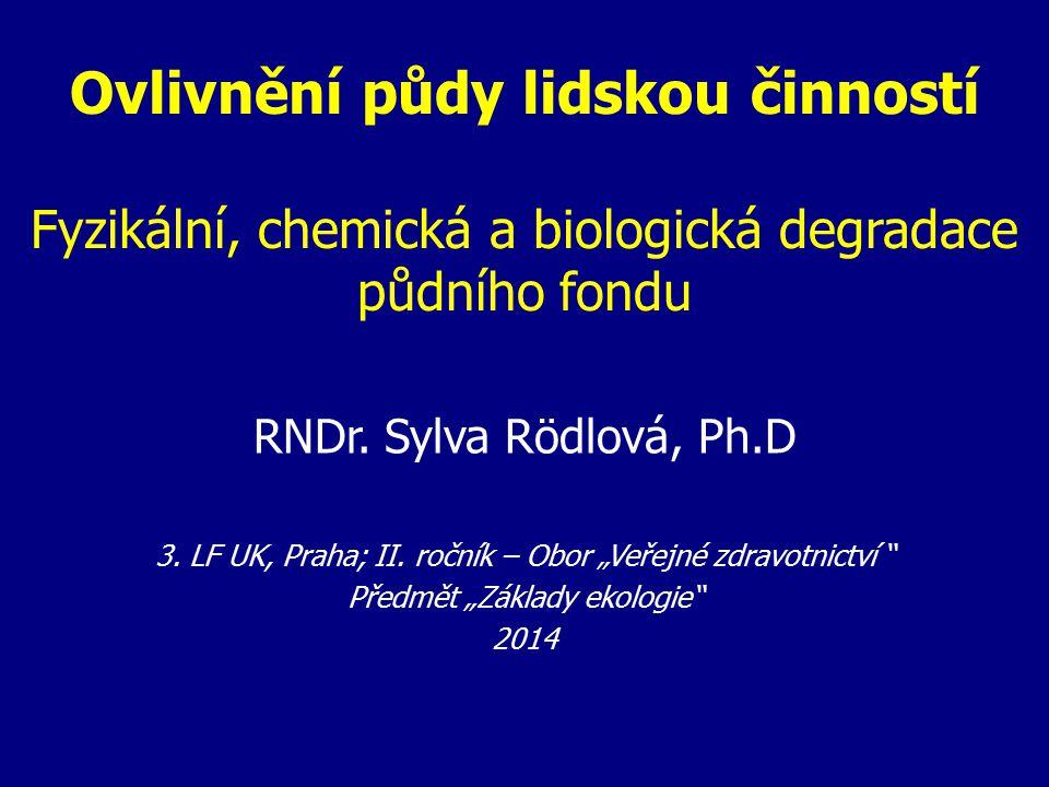 Ovlivnění půdy lidskou činností Fyzikální, chemická a biologická degradace půdního fondu RNDr.