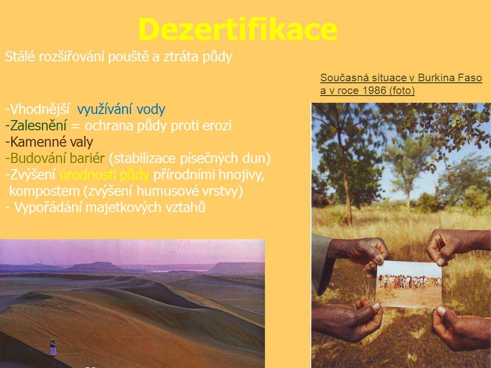 Dezertifikace Stálé rozšiřování pouště a ztráta půdy Proti dezertifikační kroky: -Vhodnější využívání vody -Zalesnění = ochrana půdy proti erozi -Kamenné valy -Budování bariér (stabilizace písečných dun) -Zvýšení úrodnosti půdy přírodními hnojivy, kompostem (zvýšení humusové vrstvy) - Vypořádání majetkových vztahů Současná situace v Burkina Faso a v roce 1986 (foto)